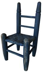 "RM908 19th century Doll Chair in the original blue paint, with split oak  seat,  Measures 13 1/2"" tall x 6 1/2"" deep x 7"" wide"