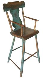 Early 19th century Windsor style  plank bottom armed Youth Chair, with the original blue  decorated paint, the front post are  a full mortised through the seat, full mortised through the arm with a wedge to lock. The front legs are notched bamboo turning. The crest of the Chair is painted blue with a black pin striping, circa 1820 1840  Measurements 12 1/2� wide x 12� deep x 38 3/4� tall