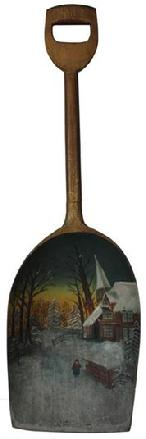 C602 19th Century Painted wooden Shovel.This antique wooden shovel is decorated with a church and Lady in the snow beautiful art work