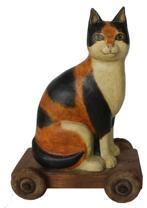 B608 Folk Art Cat on wheels, Hand Carved Painted Folk Art Cat Pull Toy, signed by maker circa 1960