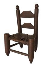 "A355  19th century ladder back Doll Chair, with the original brown surface and original cane seat , carved nutmeg 14"" tall x 9"" wide x 6 1/2"" deep"