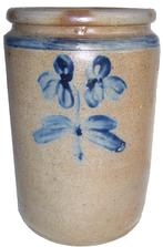 "U35 Cobalt decorated  1 1/2 gallon Stoneware jar,Baltimore MD. origin circa 1860 decorated with a bright cobalt blue clover plan, with a ring around the top of the jar no chips or cracks 11"" tall"