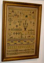 "V40 Mid 19th century  Sampler from a private collection in New Jersey made by Alice Thibou ( Riches is deceitful beauty is uain but a Woman that feareth  the Lord, the shall be praife) 141/2"" x 20 1/2"""