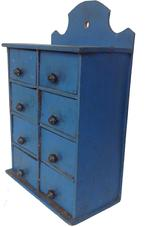 "RM261 Late 19th century blue apothecary Spice Chest, the beautiful blue paint is original , all original knobs, scalloped top with hold for hanging, the wood is pine, circa 1870 Measurements 10"" wide x 16 1/2"" tall x  5 1/2"" deep"