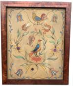 E40 19th Century tinsel painting of bird standing on heart with flowers