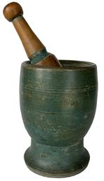 "F181 9th Century Mortar and Pestle in Beautiful green  Paint This a very solid  wood mortar and pestle dating from the mid 1800's.  The mortar is in great condition.  The paint is old, dry early green  paint with darkening around the top where it was handled frequently.  It has a nice deep extended base .  The pestle has a pronounced knob at the tip and an incised line at the top of the masher.  The mortar is 7 1/4 ""  tall, with pestle  5 ""diameter.  Wonderful size and proportions with great paint!"