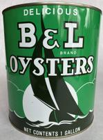 B114B Delicious B & L brand Oyster tin,Bivalve Oyster Packing Co. Chesapeake and Tangier Oysters 1 gallon