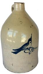 Q198 crock jug with a slip -tailed blue bird, unmarked , three gallon, probably New York State Circa 1870