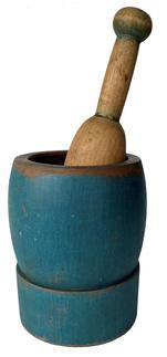 F240 19th Century Mortar and Pestle in Beautiful blue Paint This a very solid wood mortar and pestle dating from the mid 1800's. The mortar is in great condition.