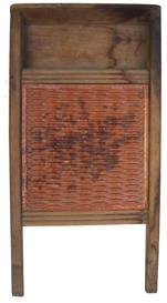 "Y396 Late 19th century Redware and Pine Wash Board, America, ridged redware scrub panel in a pine frame   13 1/2"" tall x 7"" wide x 1 1/2"" deep"