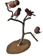 "D332 New England  Folk Art Bird Tree  with four Polychrome Birds  resting on a branch the base  is birch  this piece of folk art is Unsigned and it stands   11 1/2"" tall"