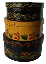 "C205 19th century Three painted bentwood Pantry Boxes  later decoration, bent wood round form with nailed lap joint, the  largest box is  41/4"" high x 8 1/2"" wide the middle box is 7 3/4"" diameter x 3 3/8"" tall the smallest is 7 1/4"" diameter x 3"" tall"