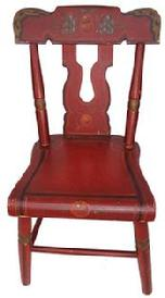 C396 Mid 19th century Pennslyvania paint decorated Child's plank bottom bootjack Chair with the original paint,