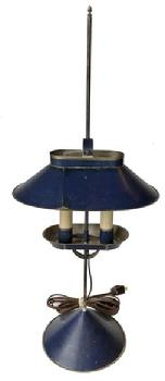 D527 Jeremy Martin tin student lamp  adjustable lamp  ,with two electrified candles and signed �JM� on base, Measurements  10�x 6 ¾�x 23 ¾�