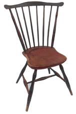 Y312a Early 19th century New England fan back windsor chair with the original blue and red paint, six spindles forming a fan support, sausage turned legs joined by H stretcher support the seat, circa 1790-1810