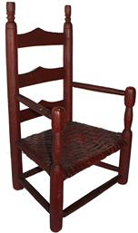 SB12  Ladder Back Pennsylvania early 19th century Child's Chair with original red paint unclean surface. Triple ladder,with great turned finials The Chair still retains it's original seat circa 1820  Measurements are 24� tall x 14� wide x 10 1/2� deep