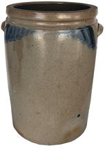 "E393  Baltimore, MD Stoneware Jar with ears, 19th century, a five -gallon  ovoid jar with cobalt swag  decoration on the front and reverse Measurement are: .16"" tall x 9 1/2"" diameter"