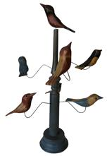 WH1 American, 20th Century Folk Art Bird Tree, with seven beautiful polychrome painted and hand  carved wooden birds resting on wire  branches  on a turned base  , 21 inches (height),