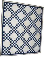 "Double Irish Chain quilt from the early 1900's in a blue and white fabric. All handstitched .. Nice graphic pattern ...quilt measures 71"" x 83"". Very nice condition although you will find some oxidation from storage"