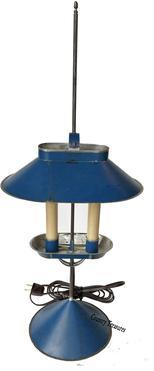 D528 Jeremy Martin tin student lamp  adjustable lamp ,with two electrified candles and signed �JM� on base,  10�x 6 ¾�x 23 ¾�