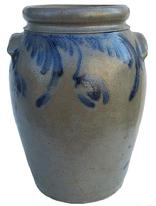"U23 Cobalt  decorated Stoneware jar, Baltimore MD. origin, circa 1850 ovoid Jar with tab handles, decorated with a swag and hanging flowerHandles are also decorated with cobalt swag under each handle 12"" tall"