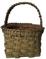 E486 Eastern Shore Virgina Miniature Basket Antique Berry-Utility  Basket retaining it�s pleasing sage green paint, ribbed splint , small size America, 19th Century, Possibly Virginia Circa 1890 Ash Splin