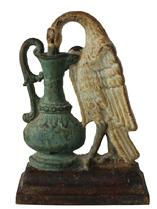 B386 Very early Ho-Ho Bird cast iron door stop. This door stop is very detailed, heavy cast iron and retains its original white, black and robin-egg blue paint.