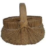 "X546 God's eye buttocks basket, 19th c. splint oak buttocks basket, North Carolina or Tennessee. Overall very good condition, no visible breaks to weavers. 10"" tall x 9"" Wide"