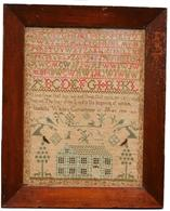 "T272 Framed early 19th century needlework, linen Sampler attributed to Isabell White Currochurne, May 17 1830. seven lines of alphabets, and number with a two line verse below. "" I love them that love me and those that  sees me early shall find me. The fear of the Lord is the beginning of wisdom. Isabella White Currochune May 17 1830"" At the bottom center, is a two story brick farm house, flanked by two threes,  with animals. The Sampler is surrounded, on it's sides and bottom by narrow rows of strawberries. Original frame with wear to the finish. 17"" wide x 21 1/4"" tall"