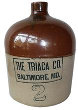 "C486 Baltimore Stoneware Advertising Jug, circa 1890, two-gallon shoulder jug,  ""THE TRIACA CO / BALTIMORE, MD"";The Triaca Company was a brewery and distributor located in Baltimore, Maryland."