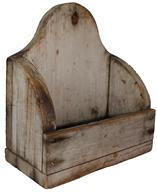 "C596 18th century Wall Box with the original dry white paint, with high arch back, hold for hanging, tee nail construction, circa 1790 8 3/4"" wide x 10"" tall x 4 1/2"" deep"