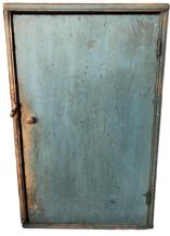 RM905  EXCEPTIONAL 19th CENTURY NEW ENGLAND HANGING WALL CUPBOARD. wonderful early blue painted and one board square nail construction. exquisitely beaded front the wear and character to this is just fabulous. measures 28 3/4'' high by 18'' wide by 7 3/4'' in