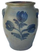 "X261 3 gallon cobalt decorated stoneware crock, circa 1865 Pa. salt glazed bulbous form crock, with brushed cobalt design of three tulips with cobalt decorated tab handles.  10 1/4"" diameter x 13 1/4"" tall"