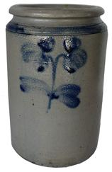 C164  Stoneware Jar with Cobalt Clover Decoration, Baltimore, MD, circa 1875, cylindrical jar with tooled shoulder and semi-squared rim, decorated on the front with a brushed two-stemmed clover motif.  stamped 1 gallon  A hairline crack