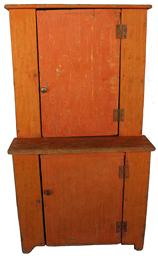 "D76 19th century Child's diminutive Stepback Cupboard with the original pumpkin paint,two plank doors with bread board ends, square head nail construction, cut out feet.Great size for a table top cupboard or a hanging cupboard .  Measurements are: 28"" tall x 16"" wide x 11"" deep"