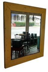 "A129 19th century Looking Glass ,the has frame beautiful original  yellow paint, the wood is pine, the back board are held in place with square head nails, circa 1820 18 17"" x 15"