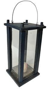 "C2 Early 19th century  Lantern  pinned construction. Four windows are contained within a wooden box frame that is  pine  original dry painted surface , early iron bail handle with old wavie glass  .Measures: 5 1/2"" x 5 1/2' Height 12 ½"""
