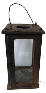 "D419  19th century ,Lantern pinned construction. Four windows are contained within a wooden box frame that is pine; original old dark green paint with attic surface. To access the candle you have to open the door. Measurements are 6 1/2"" x 6 1/2"" x 12 1/2"""