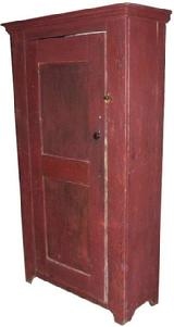 "Lancaster Co Pa. storage Cupboard with the original dry red paint, dovetailed case and paneled door the interior of this Cupboard still retains traces of the original oyster white paint circa 1800 Measurements are:37"" wide case, 40"" molding top x 15"" deep x72"" tall"