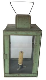 "E288 19th century Lantern, with beautful original dry green paint, tin lantern with hinged door and attached handle,  Measurements are 15"" tall with handle 6"" x6"""