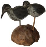 "E331 Early 20th century pair of Shore Bird rig mates  found New Jersey , one is flat body and the other is a full body, mounted in a piece of driftwood   Measurements are: 8"" tall x 9"" long"
