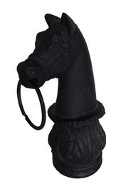 "19th century Cast Iron Horse Head Hitching Post cast iron horse head , It was used  to set on top of a wooden post ,tie up your horse,It still has its original ring and Wonderful old black paint  The paint has many decades of exposure. Measures 13"" high x 7"" deep"
