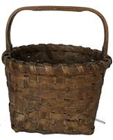 "D457 Imporant Virginia Basket,Late 19th century early 20th century  signed by Moses Harris who was born into slavery in 1864 in King and Queen Country Virginia., during the hardest days of the Civil War.  Gathering Basket in beautiful old naturial patina, nice high stemed and bent knotched handle, with a single wrapped rim attach to the handle with a single nail. Baskets dates to 1880 - 1900 Moses worked as a farm hand 12"" tall x 11"" diameter"