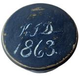 F220 Gorgeous small Treenware folk art wooden box with the initials K.T.D. and the date of 1863 on the top, a wonderful hand lathed round Treen box worked from one solid piece of wood. Hand painted in dark indigo blue with white lettering . All original finish4� diameter by 2� tall. A stunning piece of early folk art woodworking.