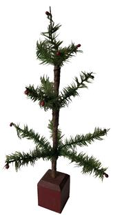 "E518  ANTIQUE GERMAN FEATHER TREE wonderful small antique goose feather Christmas tree .It stands about 17 3/4"" tall, the branches still retain little red berries,"