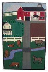 Z44 Early 20th century American hooked rug of a farm scene with barn, and farm animals mounted on frame, great colors, from a estste in Pennsylvania circa 1900 - 1920