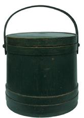 X248 Large New England green Covered Wooden Firkin, tongue and groove softwood staved sides, tapered lap joint wood bands, bent wood handle with wood peg attachments