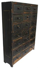 "C341 Late 19th century Apothecary Chest original black paint with mustrad pin striping on drawers as well as side, with 21 one drawers dovetaied case  with nailed drawers, This Apothecard can be hung as well as free standing  circa 1880 measurements are 23 3/4"" wide x 6"" deep x 30 1/4"" tall"