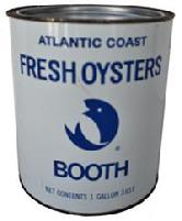 B117 THIS ONE GALLON BOOTH ATLANTIC COAST FRESH OYSTERS CAN IS IN VERY GOOD CONDITION. IT IS STAMPED MD.