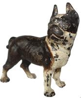 C127  Late 19th century cast iron Boston Terrier dog still bank. This castiron still bank measures 5 and one half inches high by 5 and one half inches long. Small still banks that are of the period like this one are very hard to fine. This antique bank retains most of its original paint